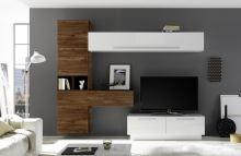 Obývací stěna Infinity-kompozice7 LBI NCA kombinace bílého lesku a ořechu