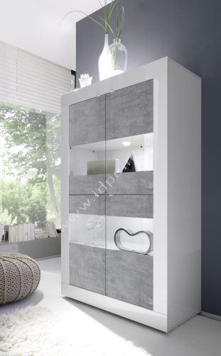 Vitrína BasicNEW-VET4 LBI BET bílý lesklý lak v kombinaci s betonem
