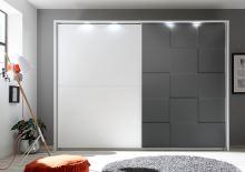 Kompletně vybavená šatní skříň Ottica-275 LBM LGRO bílý matný lak + šedý mat