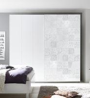 Vybavená šatní skříň s posuvnými dveřmi Xaos-SD-275 bílý mat v kombinaci s dekorem bílým