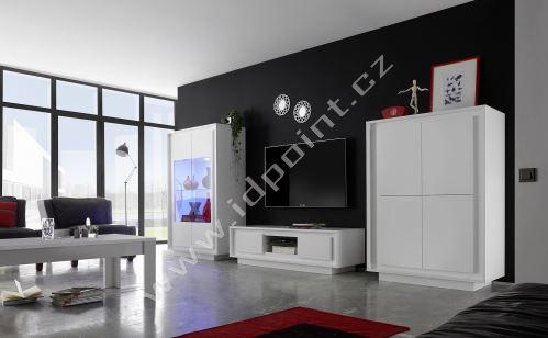 Skříňka pod televizi Sky-TV bílý matný lak+sítotisk kytky