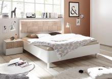 Manželská postel Xaos-P1-160 bílý mat v kombinaci s dekorem béžovým