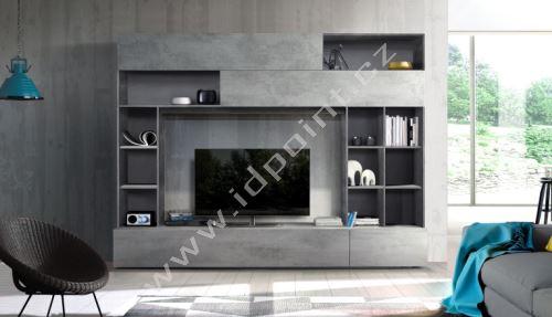Kompaktní obývací stěna Praktiko-Wall OXI BET korpus oxidovaný kámen, čílka beton