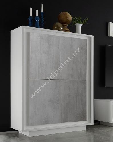 Komoda Sky-SB bílý matný lak+beton