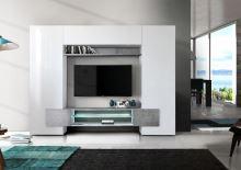Televizní stěna Incastro-TV-L bílý lesklý lak a beton