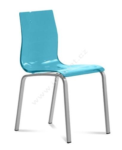 Jídelní židle Gel-R C SAZ podnož chromovaná sedák modrý plast