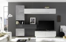Obývací stěna Infinity-kompozice7 LBI BET LGR kombinace bílého lesku,betonu a šedého lesku