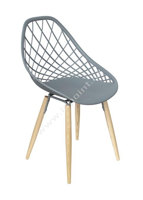 Moderní židle Philo s podnoží dub přírodní a sedák plast šedý matný