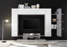 Kompletní obývací stěna Nice-KOMP1 LBI BET bílý lesklý lak v kombinaci s betonem