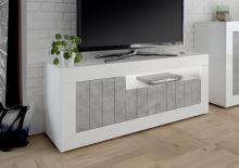 TV skříňka Urbino-TV LBI BET korpus bílý lesk, čela beton