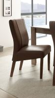 Jídelní židle Lucca podnož koňak, sedák imitace kůže tmavě hnědá