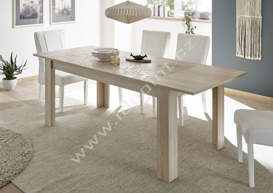 Rozkládací jídelní stůl Xaos-T-137 podnož dekor dub, deska béžový vzor