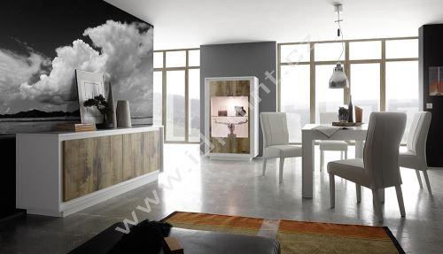 Vitrína Sky-VET bílý matný lak+staré dřevo, transparentní sklo