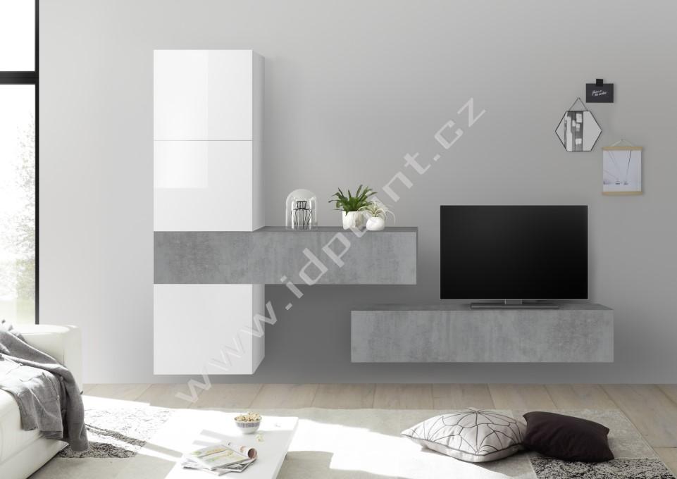Obývací stěna Infinity-kompozice1 LBI BET kombinace bílého laku a betonu