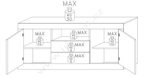 Komoda Urbino-LB2 LBI BET korpus bílý lesk, čela beton