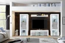 Obývací sestava Easy-2 LBI BET VT bílý lesklý lak v kombinaci s betonem a sklem