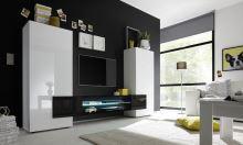 Skříňka pod televizi Incastro-TV-M bílý lesklý lak a černý lesklý lak