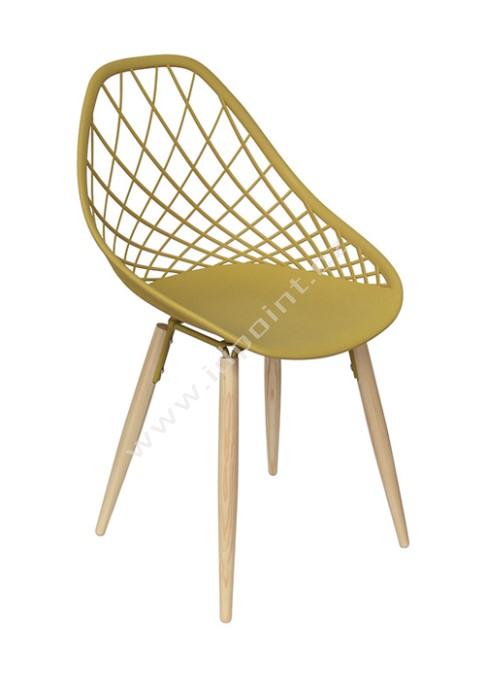 Moderní židle Philo s podnoží dub přírodní a sedák plast žlutý matný