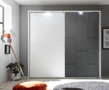 Kompletně vybavená šatní skříň Ottica-220 LBM LGRO bílý matný lak + šedý mat