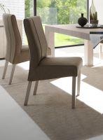 Jídelní židle Lucca podnož béžový dub, sedák imitace kůže béžová