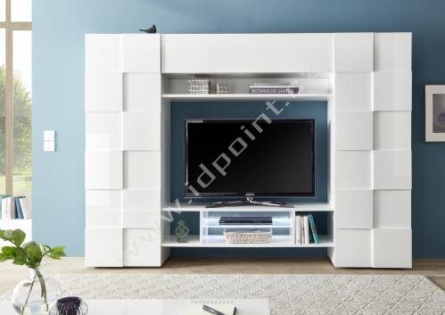 Kompaktní obývací stěna Dama-WU LBI bílý lesk