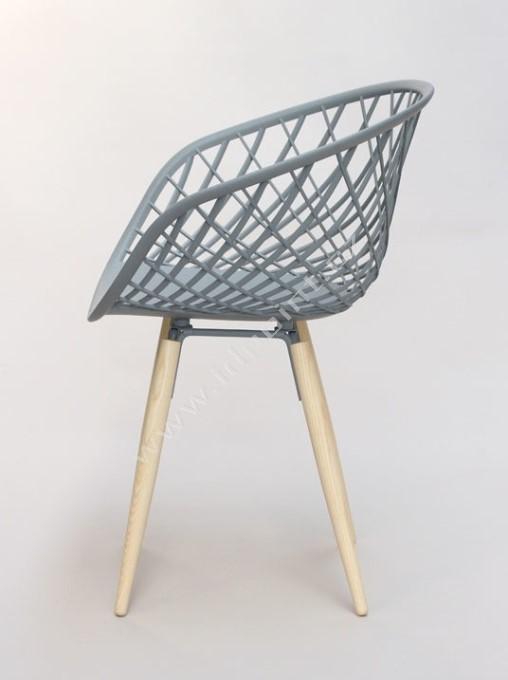 Moderní židle Harry s podnoží dub přírodní a sedák plast svetle šedý hedvábně matný