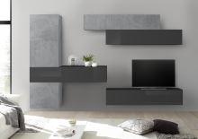 Obývací stěna Infinity-kompozice2 BET LGR kombinace betonu a šedého laku