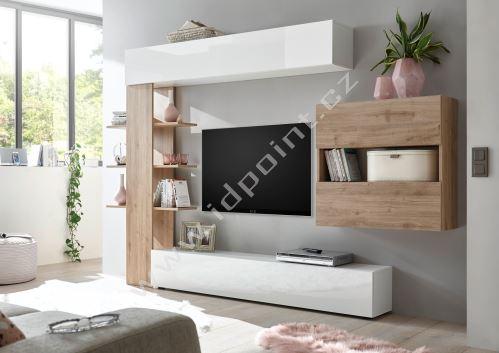 Obývací stěna Sorano-kompozice2 bílý lak v kombinaci s dubem kadiz