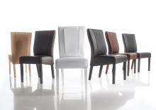 Jídelní židle Lucca podnož šedý mat, sedák imitace kůže šedá