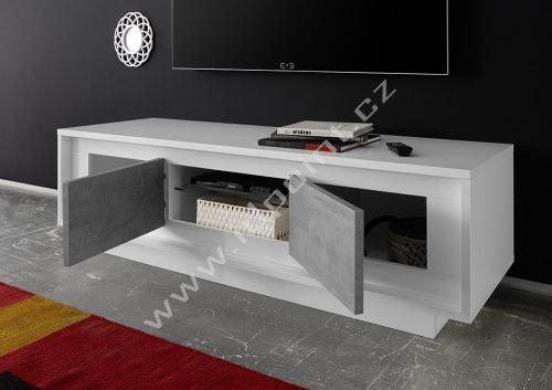 Skříňka pod televizi Sky-TV bílý matný lak+beton