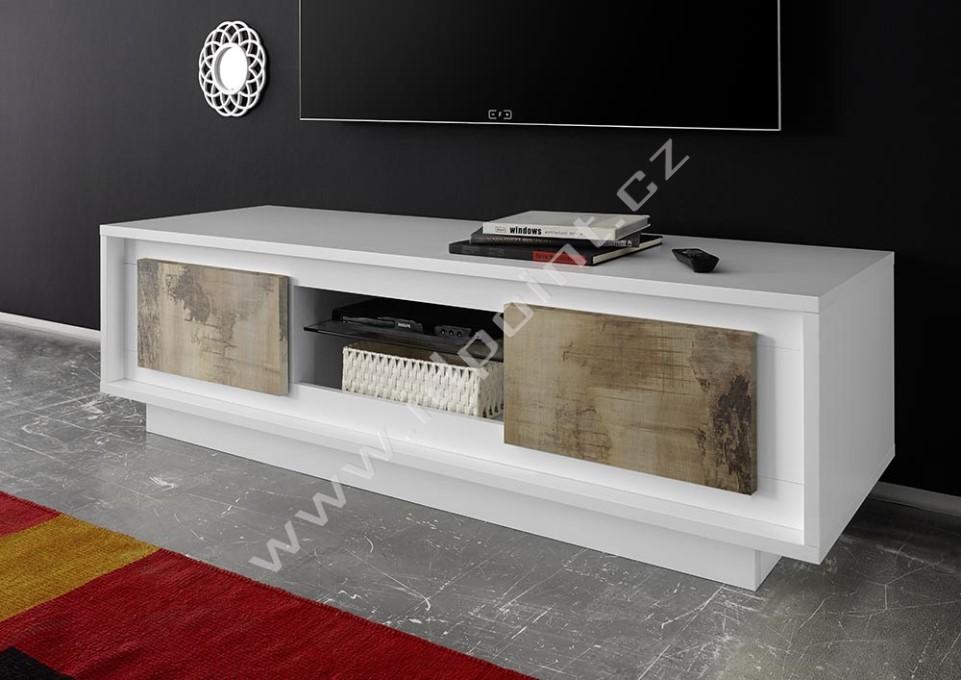Skříňka pod televizi Sky-TV bílý matný lak+staré dřevo