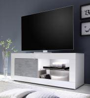 TV skříňka BasicNEW-TV-S LBI BET bílý lesklý lak v kombinaci s betonem