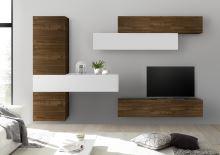 Obývací stěna Infinity-kompozice2 NCA LBI kombinace ořechu a bílého laku