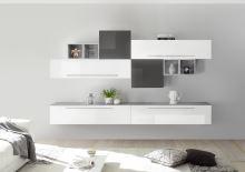 Obývací stěna Infinity-kompozice9 LBI BET LGR kombinace bílého laku, betonu a šedého laku