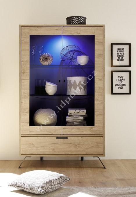 Vitrína Palma-VET2 dub sherwood, transparentní sklo