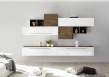 Obývací stěna Infinity-kompozice9 LBI NCA kombinace bílého laku a ořechu
