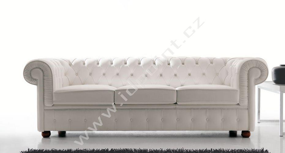 Trojsed Chester-3P bílá kůže Toscana 3003
