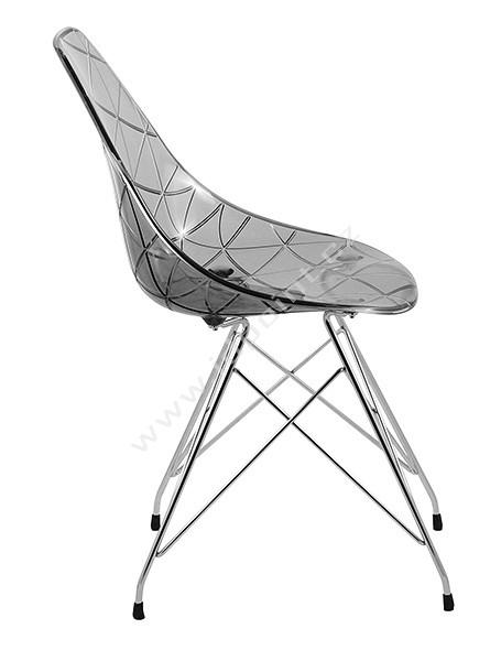 Jídelní židle Glamour-R chromovaná podnož, sedák kouřový plast
