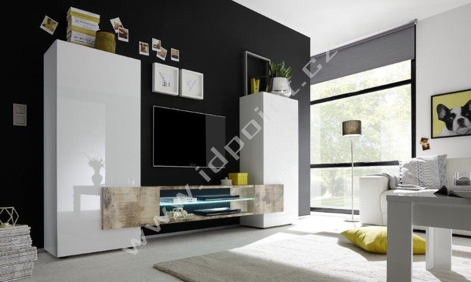 Skříňka pod televizi Incastro-TV-M bílý lesklý lak a staré dřevo