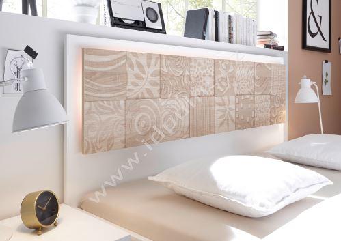 Manželská postel Xaos-P1-180 bílý mat v kombinaci s dekorem béžovým