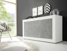 Komoda BasicNEW-SB3 LBI BET bílý lesklý lak v kombinaci s betonem