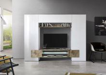 Televizní stěna Incastro-TV-L bílý lesklý lak a staré dřevo