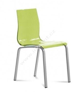 Jídelní židle Gel-R INS SVE podnož nerez sedák zelený plast