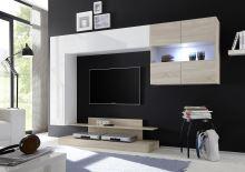 Kompletní obývací stěna Nice-KOMP2 LBI RSA bílý lesklý lak v kombinaci s dubem samoa