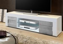 TV skříňka Easy-TV2 LBI BET bílý lesklý lak v kombinaci s betonem