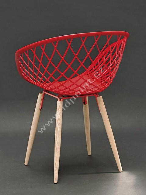 Moderní židle Harry s podnoží dub přírodní a sedák plast červený hedvábně matný