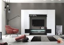 Televizní stěna Incastro-TV-L bílý lesklý lak a černý lesklý lak
