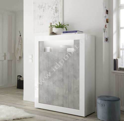 Vysoká komoda Urbino-SB2 LBI BET korpus bílý lesk, čela beton
