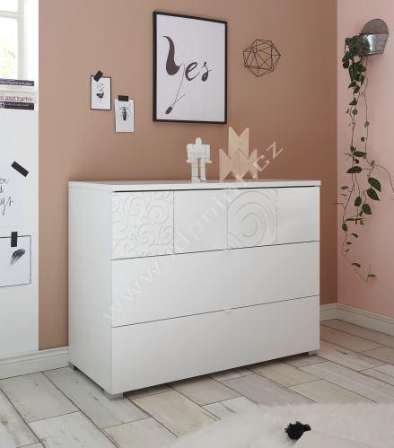 Komoda Xaos-COM bílý mat, jedna zásuvka dekor bílý
