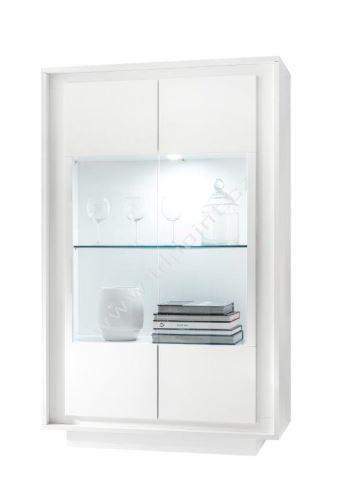 Vitrína Sky-VET bílý matný lak, transparentní sklo